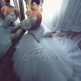 alças de strass sereia casamento vestido Desconto Sexy 2017 Marfim Sereia Vestido De Casamento Sexy Spaghetti Straps Querida Backless Rhinestone Tull Longos Vestidos De Noiva De Noiva Vestido De Noiva