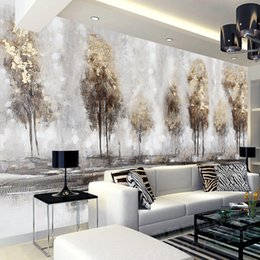 Wholesale Hand Landscapes Forest - Photo 3d wallpapers hand-painted abstract landscape oil painting forest mural living room TV Background wall custom wallpaper