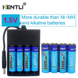 Wholesale Aa Battery Lithium - 8pcs KENTLI 1.5v 2800mWh Li-polymer li-ion polymer lithium rechargeable AA batteries + 4 channels Charger