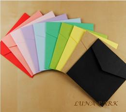 farbige papierumschläge Rabatt Wholesale-Multicolor 12 Farben size10x10cm Kraftpapier Umschlag kleine farbige Umschläge Hochzeit Umschlag sobres / 120 Stück / Satz / Großhandel