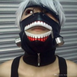 Wholesale Leather Zipper Mask - Tokyo Ghoul Kaneki Ken Mask Adjustable Zipper Masks PU Leather Cool Mask Blinder Anime Cosplay