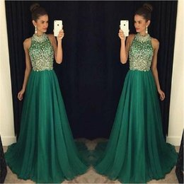 Wholesale Long Luxury Evening Dress - Luxury Emerald Green Prom Dresses Long 2017 High Neck Crystal Beaded Formal Women Evening Gowns Sheer A-Line Tulle Party Dress