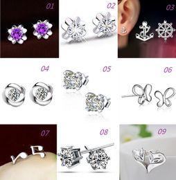 Wholesale Jewelry Foxes - New Women 925 Silver Stud Earrings Fox Butterfly Anchor Design Anti-Allergic Silver Jewelry Stud Earrings free shipping