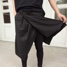 Mens punk hose online-Cool Mens Gothic Punk Style Hosen Schwarz Club Wear Skinny Kleid Rock Hosen Hosen Faux 2 Stück