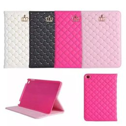 stylus para tablet asus Rebajas Para Ipad Mini 1 2 3 Luxury Rhinestone Crown PU Leather Tablet PC Funda con soporte Holder Skin Cover para ipad 2 3 4 Para ipad pro 9.7 pulgadas