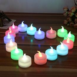 Wholesale Tea Candle Lanterns - Colorful Mini LED Tea Lights Candle Glow Electric Birthday Wedding Decoration Small Flicker Flame Candle Lantern ZA3372