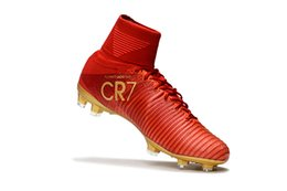 Wholesale Cheap Steel Spikes - 2017 New men Cristiano Ronaldo Mercurial Superfly Iv FG CR7 501 Boot White Golden Soccer Shoes,mens discount Cheap Training Sneakers Cleats