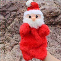 Wholesale Hand Puppets For Kids - New Cute Christmas Hand Puppet Dolls Toys 27CM Santa Stuffed Dolls Storytelling Finger Even Hand Puppet For Baby Gifts CCA7636 20pcs