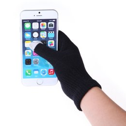 Wholesale Wholesale Black Gloves - Touch Screen Gloves New Magic Winter Gloves for Smart Phone Texting Adult One Size Warmer Knit Mittens