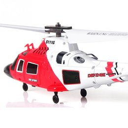 Wholesale Gyro Infrared Control Rc Helicopter - 3CH 3.5CH S111G Coast Guard MH-68A Infrared I R RC Remote Control Helicopter RTF Gyro USB LED
