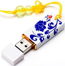 Wholesale Usb Flash Drive Disk 16g - Blue And White Pottery USB Drive Flash Disk USB Stick 2.0 16G 64GB 128GB 256GB Chinese Wind Disk Key Personality Pattern Gift