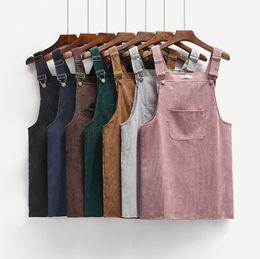 Wholesale Korea Suspenders - 2017 Spring Korea College Wind Restoring Ancient Ways Corduroy Suspenders Big Pocket Straight Vest Dress