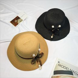 Wholesale Coat Tie Casual - New Female Spring and Summer Straw Hat Bow Coat Sunset Beach shade Fisherman Hat Size 56-58CM