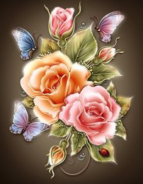 Wholesale Rose Paintings - Flowers Butterfly Rose Resin Full DIY Diamond Painting Diamond Mosaic Beadwork Embroidery Gift Making Tools Diamond Pattern