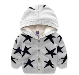 Wholesale Boys 5t Sweater - 2017 New brand Children clothing baby boy Autumn winter star printed cadigan hooded sweater coat kids long sleeved sweater Free shipping