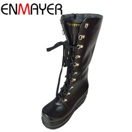Wholesale Gothic Heels - Wholesale-ENMAYER Free Shipping New Gothic Punk Shoes Cosplay Boots Sexy High Heels Platform Zip Winter Wedges Knee High Boots White Shoes