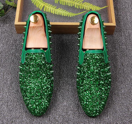 Wholesale wedding male dress designers - Men luxury Designer Colorful Studded Rivet Casual Flats Shoes Male Homecoming Dress Wedding Prom Sapato Social loafers gg10