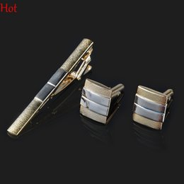Wholesale Iron Ties - Formal Stylish Cufflinks Tie Clip Set Hot Gold Men Business Clip Super Quality Bar Cuff Link Tie Pin Set cuffs Gemelos Tie Clip Set SV007292