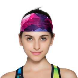 Wholesale Womens Wide Hair Bands - New arrival womens headbands Printed yoga Running wide headband fashion colorful sport hair band free shipping