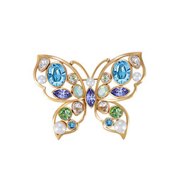 Wholesale Diamond Acrylic Powder - European and American jewelry powder charm brooch pearl butterfly brooch dual female models with Swarovski elements crystal