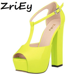 Wholesale Chunky Heel Ivory Wedding Shoes - ZriEy patent leather chunky high heels ankle strap pumps summer wedding platform shoes woman women sandals candy ladies BY17867
