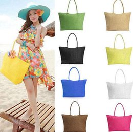 Wholesale Woven Handbags Summer - Women Summer Straw Weave Shoulder Tote Shopping Lady Beach Bag Purse Handbag Straw Shoulder Tote Shopper Purses 13 color KKA1650