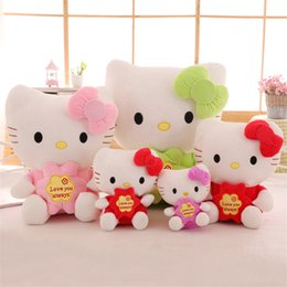 Wholesale Wholesale Valentine Stuff - 20cm Hello Kitty Stuffed Animals Cute Cat Soft Plush Toys Pendant Girls Anime Dolls Birthday Valentines Gifts KT Cat