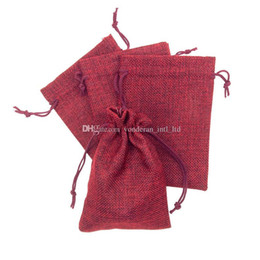 Wholesale burlap sacks - 13*18cm Linen Fabric Drawstring bag candy jewelry Gift bag package sack bags Gift hessian bags burlap mobile power sack bags whole sale