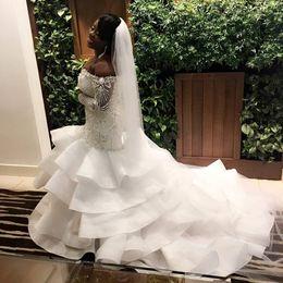 Wholesale brides dress falls off - 2018 Sexy Plus Size Mermaid Wedding Dresses Sweetheart Off Shoulder Long Sleeves Beading Satin Black Bride Wedding Gowns Chapel Train