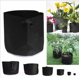 Wholesale Fabric Grow Bags - Gallon Nonwoven Fabrics Grow Bag Handles Round Fabric Pots Plant Pouch Root Grow Bag Aeration Pot Container 10 Size c183