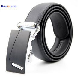 Wholesale Male Genuine Leather Strap Automatic - Wholesale- Famous Brand Belt Men Good Quality Cowskin Genuine Luxury Leather Men's Belts for Men,Strap Male Metal Automatic Buckle
