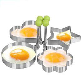 Canada 4pcs / lot moule à oeufs en acier inoxydable rond fleur forme de coeur omelette moule Offre