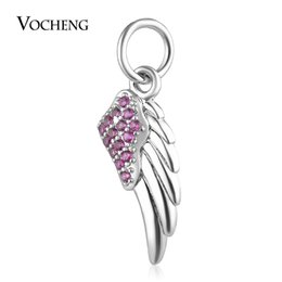 Wholesale Metal Charms Wing - Wings Charms Beads Pendant for Jewelry Making with CZ Stone Brass Material 3 Colors Vn-1736
