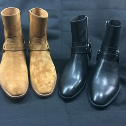 Wholesale High Boots Europe - Wholesale- 2016 latest Europe high quality genuine leather cowboy boots pointed toe Martin boots cool Chelsea boots men shoes EU37-EU46