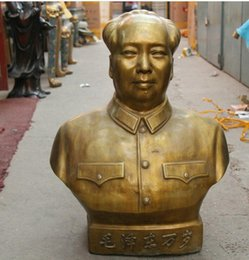 """Wholesale Huge Draw - 28"""" huge Chinese Copper Bronze half-length Chairman mao ze dong"""