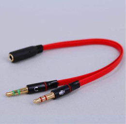 2.1 stereo Promo Codes - High quality 3.5mm Mini Jack 1 Female to 2 Male (Headset + Mic) Y Splitter Earphone computer Audio Cable