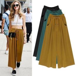 Wholesale Wide Leg Pants Culottes - 2017 Summer Plus Size M-4XL 5XL 6XL Women Casual Loose Harem Pants Wide Leg Palazzo Culottes Stretch Trouser Female Clothing