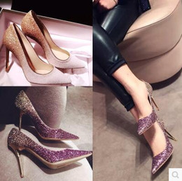 Wholesale Vintage Black Pumps - Wedding Shoes Luxurious Beautiful Stiletto Heel Fashion Redcarpet Modern Pointed Toe Squins Vintage BlingBling 4 Colors Elegant
