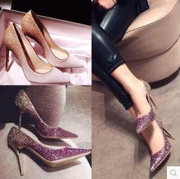 Wholesale Black White Polka Dot Heels - Wedding Shoes Luxurious Beautiful Stiletto Heel Fashion Redcarpet Modern Pointed Toe Squins Vintage BlingBling 4 Colors Elegant