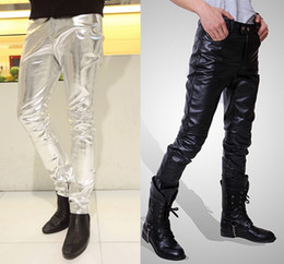 Wholesale Casual Costumes For Men - Wholesale-Mens Skinny Faux PU Leather Pants Shiny Silver Black and Gold Pant Trousers Nightclub Stage Costumes for Singers Dancer Male 3XL