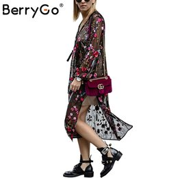 Wholesale Women S Transparent Mesh Dress - BerryGo Vintage transparent mesh party dresses V neck split fringe sexy dress vestidos de festa Embroidery summer dress women 17501