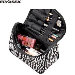 Wholesale Zebra Cosmetic - Wholesale- Elvasek fashion women cosmetic cases travel bags cheap ladies nylon cosmetic bag zebra striped cosmetic bag LS7520