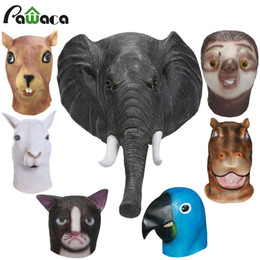 Wholesale Adult Squirrel - Latex Full Face Trump Cosplay Masks Elephant Squirrel Parrot Alpaca Hippo Animal Head Mask Masquerade Masks For Party Halloween