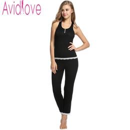 Wholesale Tank Tops Long Set - Wholesale- Avidlove Casual Women Cotton Nightgown Sets Soft Slim Pajamas Sexy Sleepwear Ladiy Home Clothing Tank Tops Long Sleeve and Pants