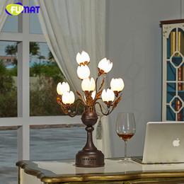 Wholesale Lotus Bedding - FUMAT Glass Table Lamp Fashion Pastoral Lotus Flower Shade Lamp For Living Room Bedside Lamp Art Decor Glass LED Table Lights