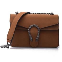 Wholesale Black American Singles - suede bag luxury handbags women bags designer chian shoulder crossbody bag vintage Scrub famous brand Tiger head flap sac femme