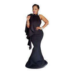 Wholesale Turtle Neck Mermaid Dresses - Fashion Women Trumpet Long Maxi Dress Elegant Evening Party Bodycon Dresses Backless Ruffle Nightclub Dress Black 2XL Free Shipping