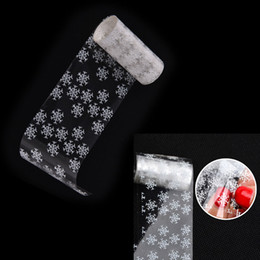 Wholesale Christmas Nail Stickers Foil - Wholesale- 1Pcs New Hot White 3D Snowflake design Christmas Nail Art Sticker women manicure tools Nail Foils Wholesale