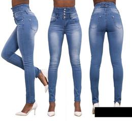 Wholesale Fat Bow - Wholesale- 2016 Jeans Womens High Waist Elastic Skinny Denim Long Pencil Pants Plus Size 40 Woman Jeans Camisa Feminina Lady Fat Trouser