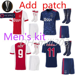 Wholesale Fc Top - Top quality 2017 2018 Ajax FC home jersey with socks 17 18 away KLAASSEN FISCHEA BAZOER MILIK AJAX kit football shirts + Socks and patch